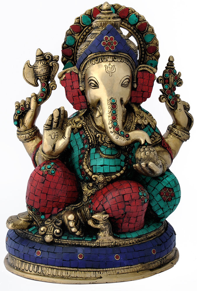 "Seated Lord Ganesha Fine 13.50"" Brass Statue 4809"
