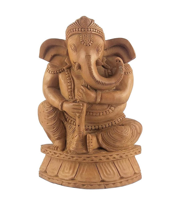 Wooden Lord Ganesha Playing Shenai Statue