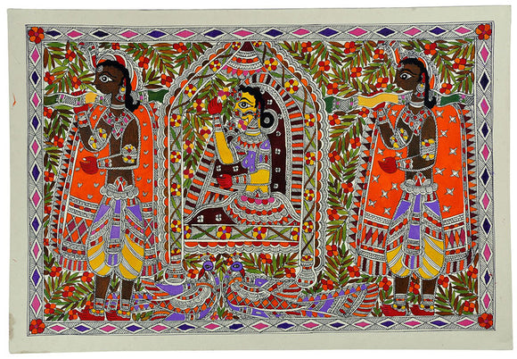 Madhubani Painting - Newly Wed Bride in Palanquin