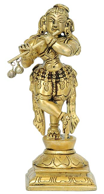 Lord Krishna Playing Flute Brass Statue 3247