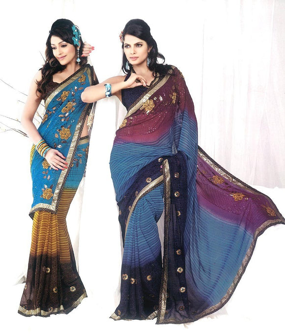 Beautiful Georgette Sari with Golden Embroidery & Sequins Work