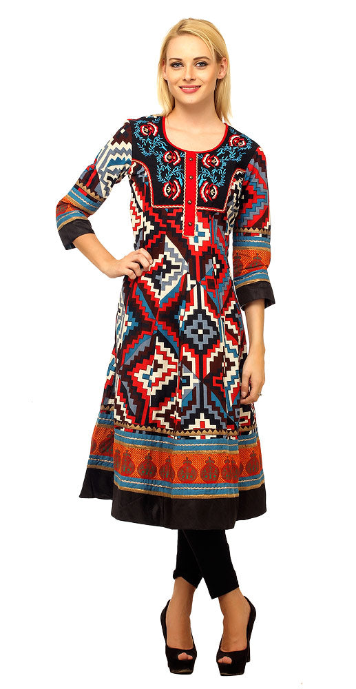 Embroidered Abstract Design Printed Kurti