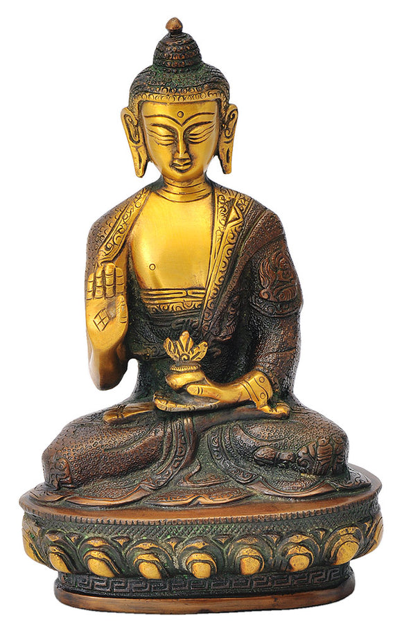 Blessing Medicine Buddha Carved Robe Statue