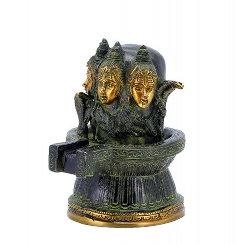 Three Headed Shiva Ling Brass Statue