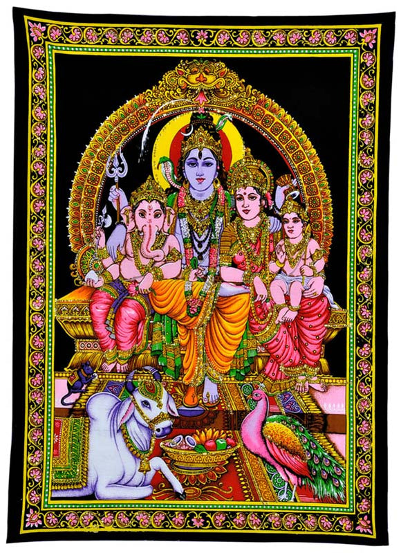 God Shiva Family Cotton Painting with Sequin Work