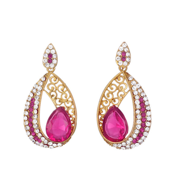 Magenta Stone Dangle & Drop Earring for Women