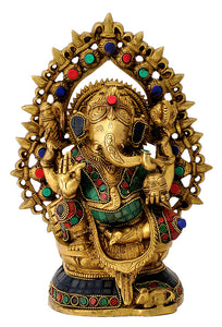 Four Armed Lord Ganpati Brass Sculpture