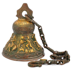 Lord Krishna Antique Finish Brass Hanging Bell 4017