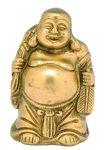 Laughing Buddha Brass Statue 1275
