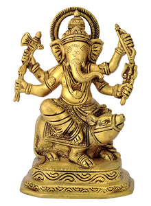 Lord Ganesha Vinayak Seated on Mooshika Brass Statue