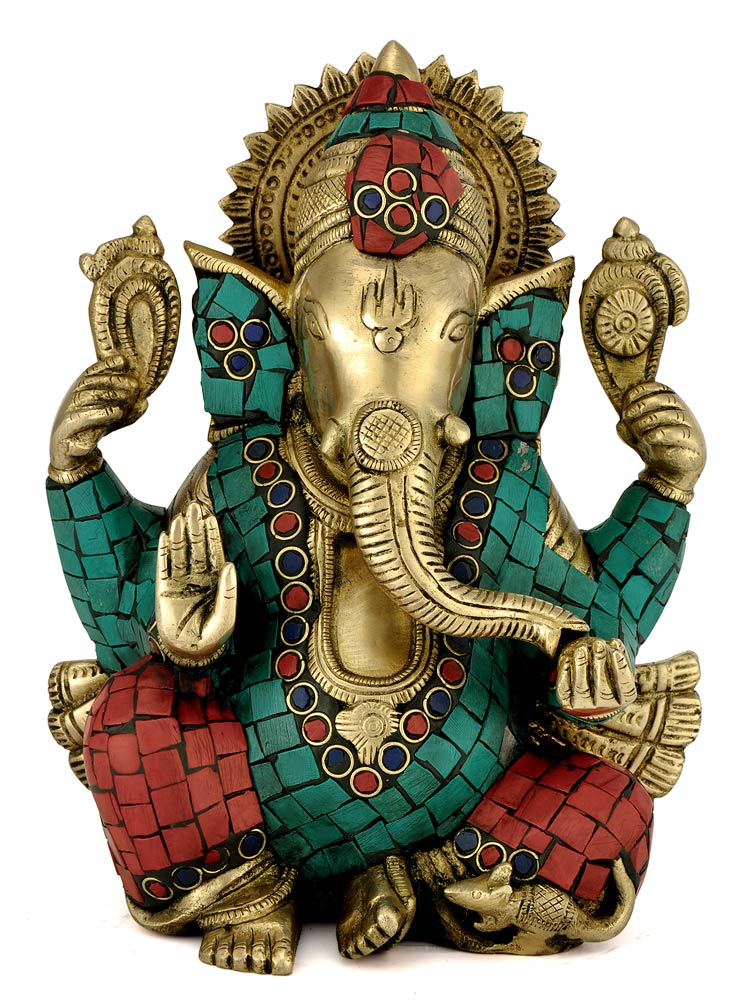 Ornate with Stone Lord Ganpati Ganesha 9.25 Inch Handcarved Brass Statue 4381