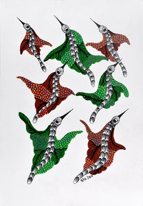 Birds Group Gond Art Gond Panting