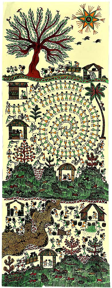 Tribal Village-Warli Painting