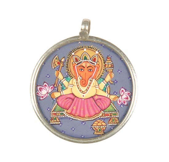 Lord Ganesha seated on Chowki - Handpainted Pendant