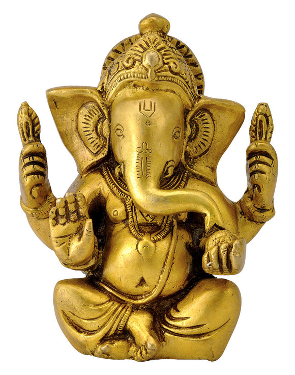 Lord Seated Ganesha Brass Statue