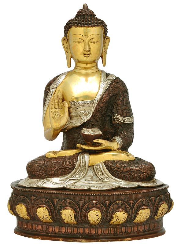 Medical God Amitabha Buddha with Pot Brass Statue 3994