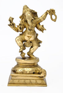 Four Armed Dancing Ganesha Brass Statue