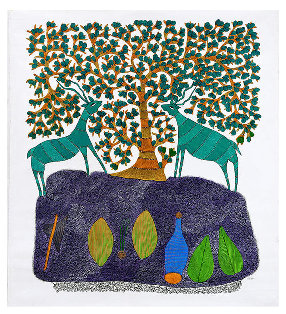 Tree and Two Deer - Folk Gond Art
