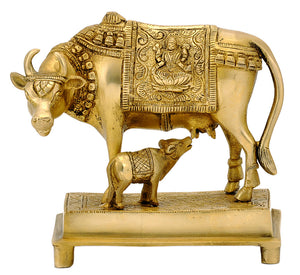 Brass Cow with her Calf Figure