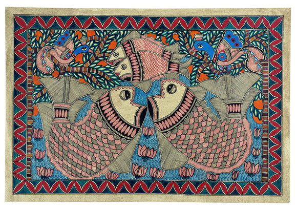 Madhubani Painting 'The Fish Pond'
