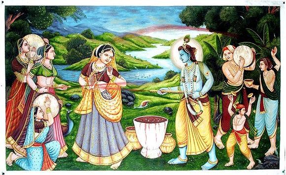 Radha & Krishna Play Holi - Oil Painting