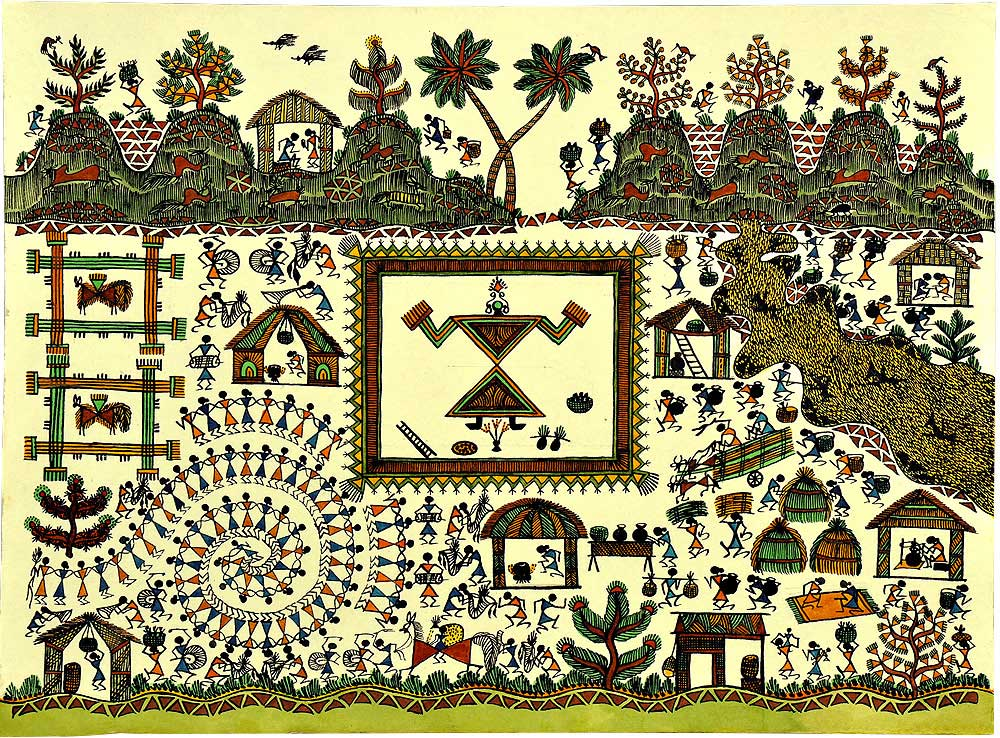 Marriage Processes  Warli Painting