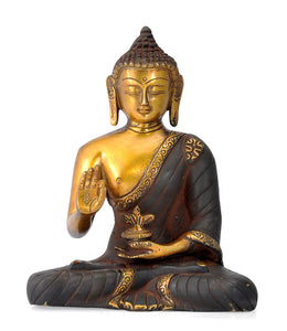 Brass Medicine Buddha - Antique Finish Sculpture