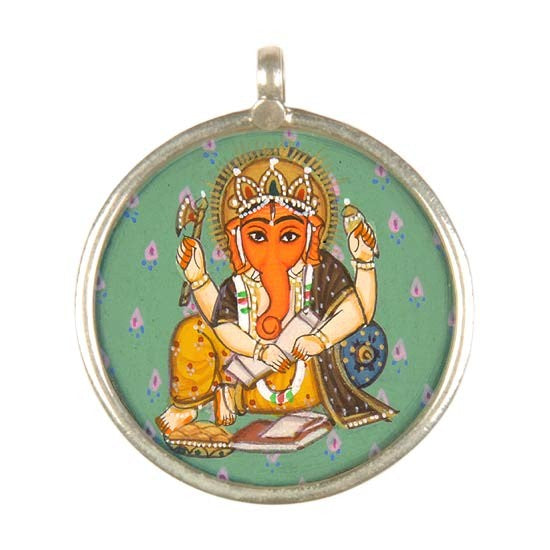 Lord Ganesha Write - Handpainted Pendant