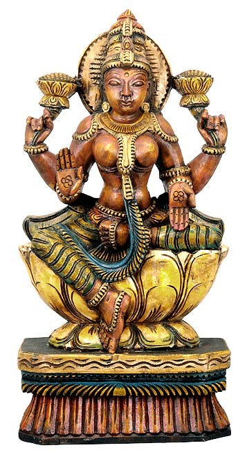 Maha Lakshmi seated on Lotus - Wood Statuette