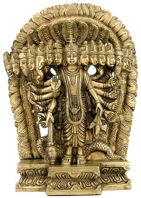 Lord Vishnu in Cosmic Magnification - Brass Sculpture
