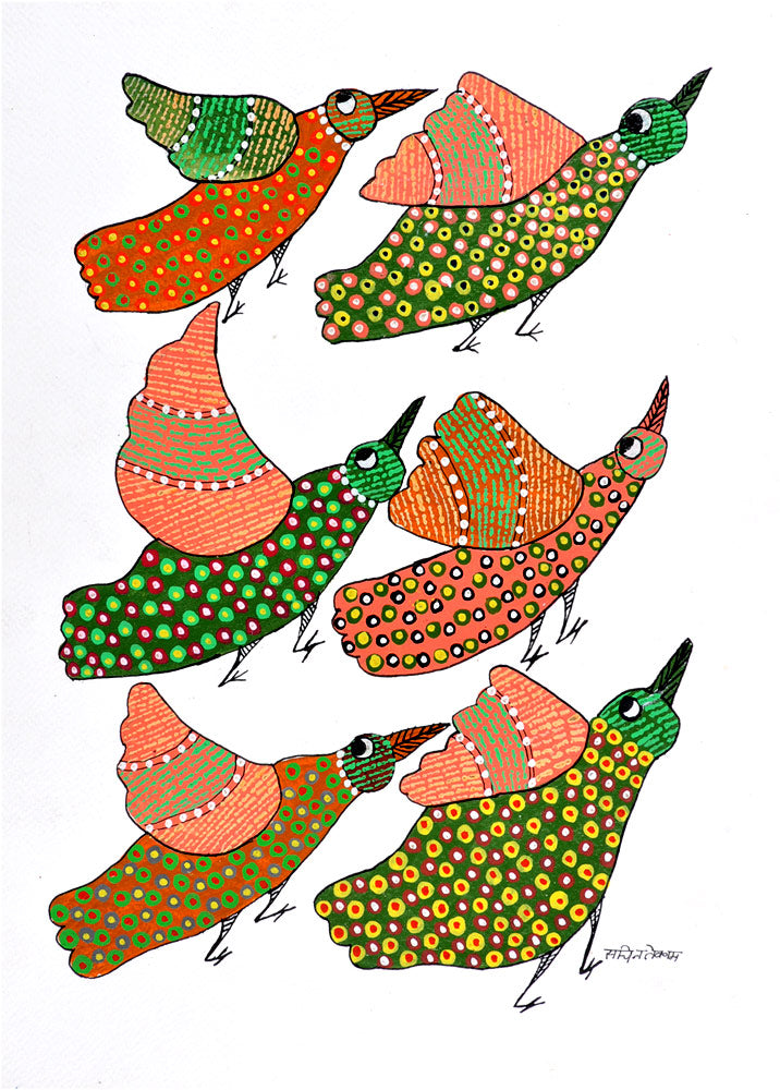 Flying Birds Gond Panting