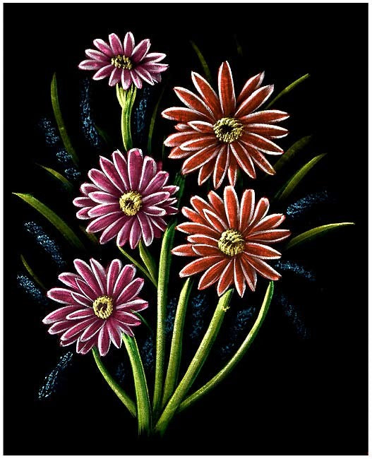 Flowers at Night - Velvet Painting