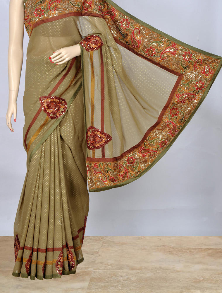 Stylish Green Embroidery Work  Saree