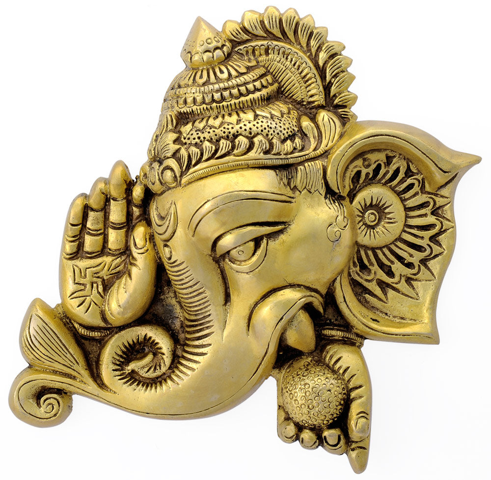 Lord Blessing Ganesha Brass Wall Plaque