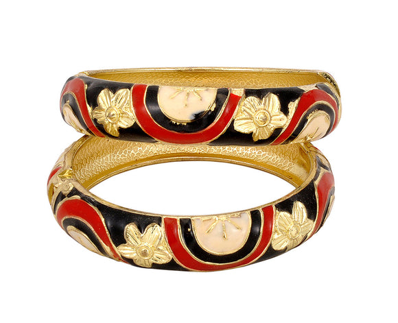 Metal Black and Red Bangle Set Pair