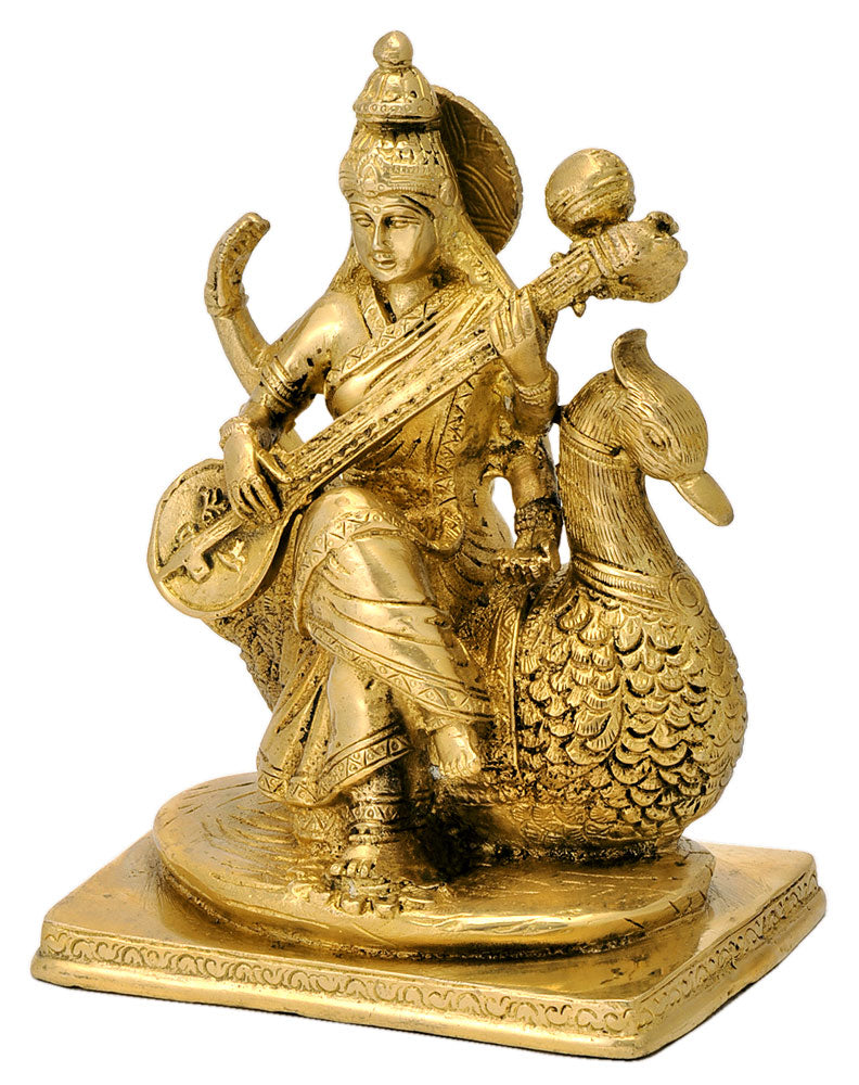 Devi Saraswati Maa Playing Veena Brass Statue