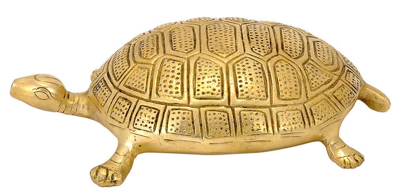 Brass Tortoise with Panchadasi Yantra Engraved on Bottom