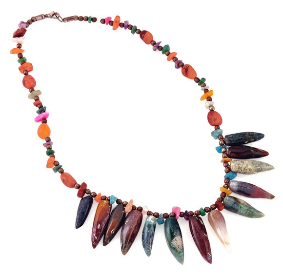 Multi Color Gem Stone Necklace