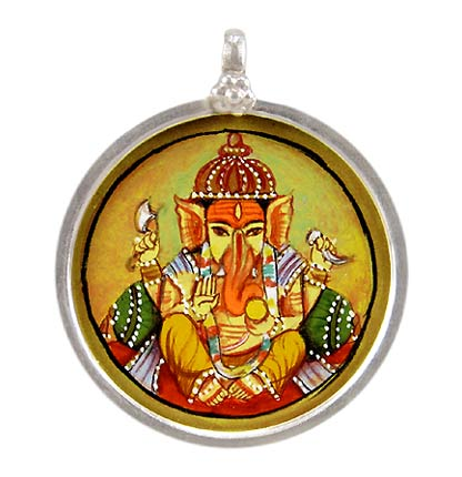 Seated Lord Ganpati - Handpainted Pendant