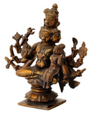Antiquated Five Headed Lord Shiva with Parvati Brass Statue