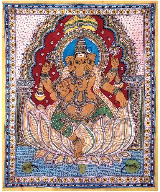 Lord Ganesha Seated on Lotus - Kalamkari Painting