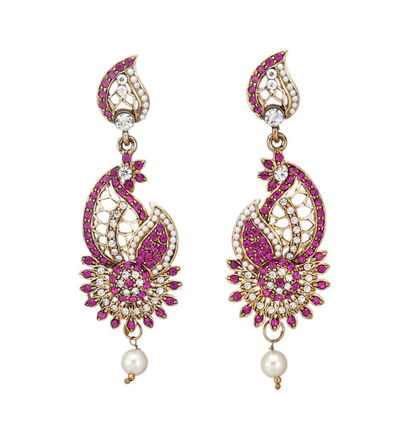 Beautiful Magenta Stone and Pearl Dangle & Drop Earring