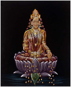 """Goddess of Wealth"" Mata Lakshmi - Velvet Painting"