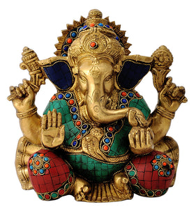 Brass Lord Ganapathi Turquoise Coral Statue
