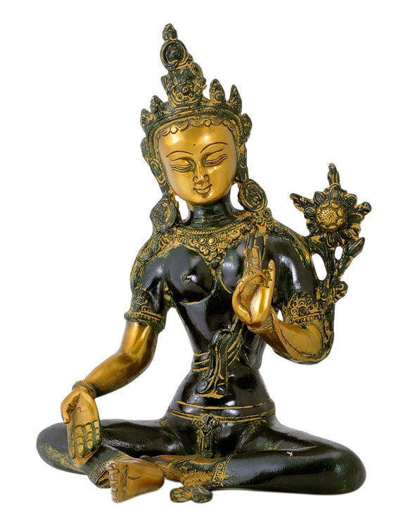 Brass Sculpture 'Green Tara'