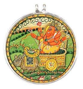 Lord Ganesha Riding a Chariot - Silver Pendant