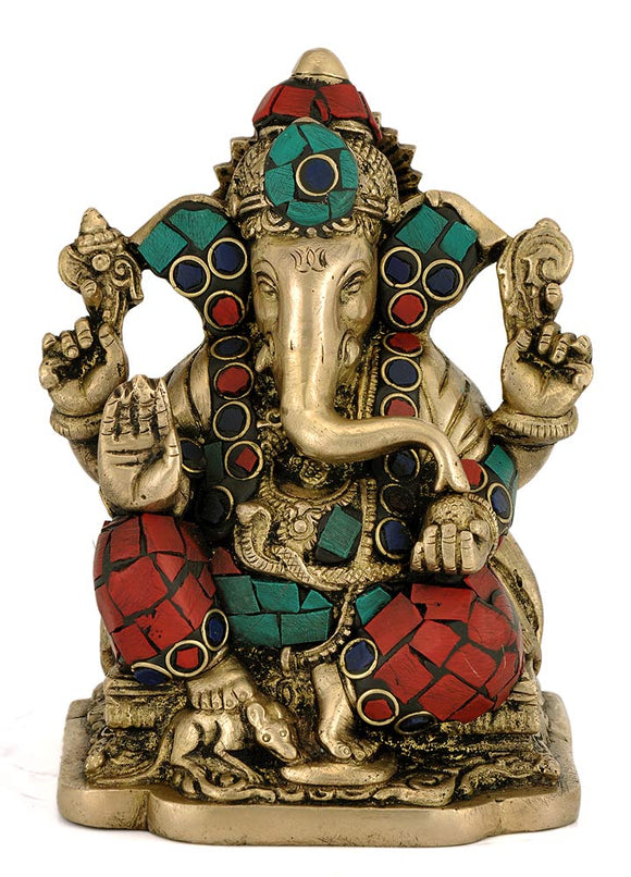 God Ganesha Handcarfted Brass Statue w/ Stone God of Good Luck Ganpati Idol 4362