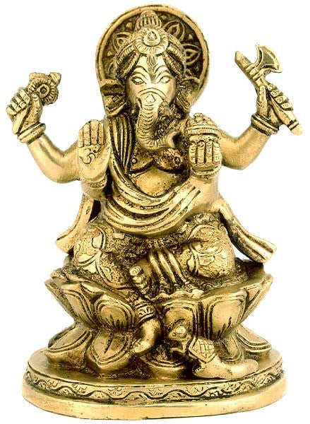 Lord Ganesha with Modak - Brass Statue  BS0022