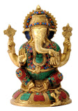 Brass Engraved Seated Ganesha Statue