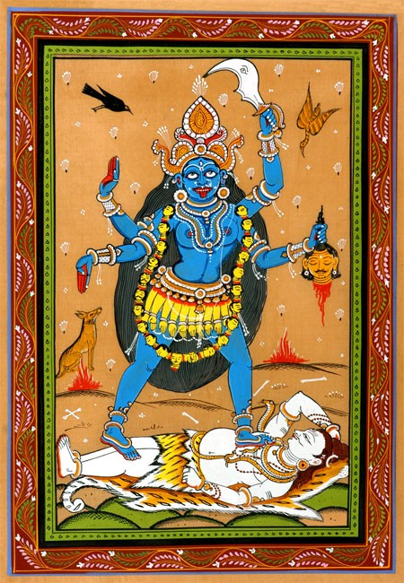 Kali The Forcefull-Traditional Pata Painting